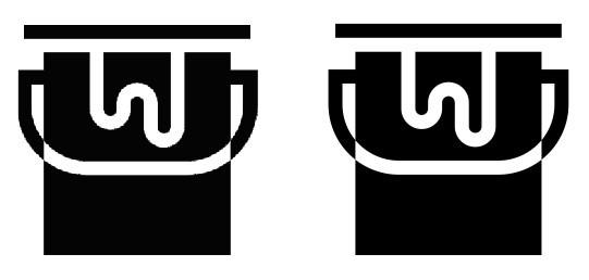 À esquerda um bitmap e à direita a imagem já vetorizada
