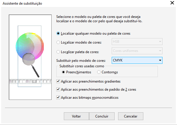Procurando elementos RGB no Corel